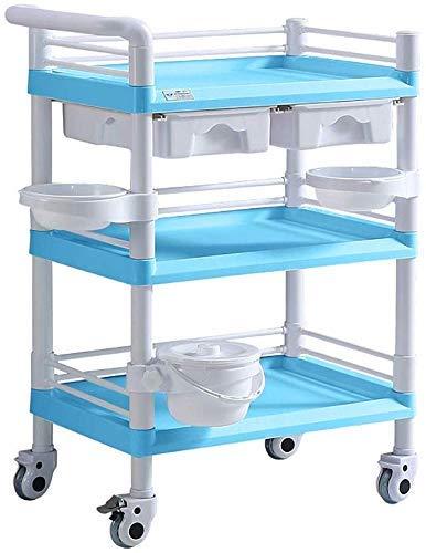 GUONING-L Rueda Multifunción portátil de mano camionetas, Carro Portátil 3 Nivel Hospital de utilidad médica de la compra en la rueda, ABS azul del salón de belleza Equipo de laminación de la carretil