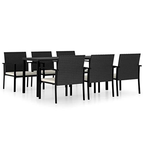 vidaXL Gartenmöbel 7-TLG. Sitzgruppe Gartengarnitur Gartenset Sitzgarnitur Gartentisch Esstisch Gartenstuhl Tisch Stühle Poly Rattan Schwarz