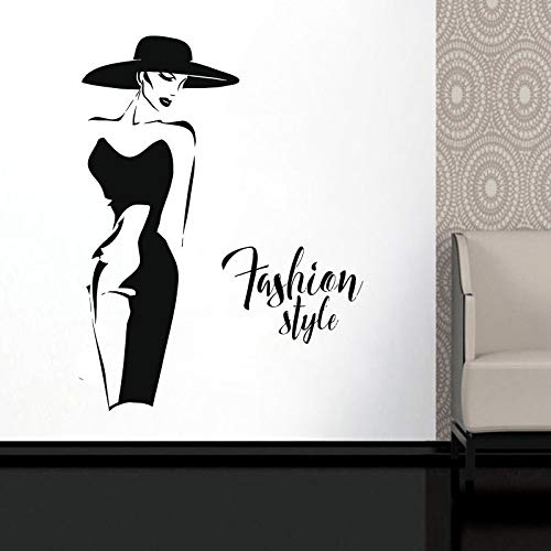 Fashion Lady Model Wall Sticker Calcomanía de ventana para ropa Boutique Fashion Woman con vestido negro Murales autoadhesivos A2 42x56cm