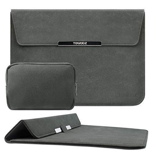 TOWOOZ 13.3 Inch Laptop Sleeve Case Compatible with MacBook Air/MacBook Pro 13-13.3 inch/iPad Pro/Surface Pro, Artificial Leather, Innovative Materials, Folding Type (13-13.3inch, Dark Gray)
