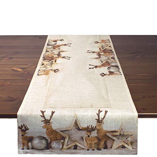 Ernst Schäfer Tischläufer Rentiere, 40x140 cm, Moderne Tischdecke zu Weihnachten