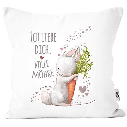 MoonWorks® Kissenbezug Liebesgeschenk Ich Liebe Dich volle Möhre Hase mit Karotte Liebesbotschaft Liebesbeweis weiß Unisize