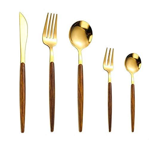 JWWLLT 30 unids Set de Cubiertos de Acero Inoxidable de Oro Portugal Cutipol Goa vajilla de vajilla con Mango de Madera Cuchara de Metal Cuchillo de Horquilla (Color : Gold(30pcs))