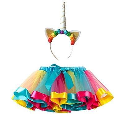 FENICAL Disfraz de Unicornio para Niñas Diadema Unicornio Floral con Oreja y Falda Tutú de Arco Iris Disfraz para Fiesta Azul Cielo Tamaño S