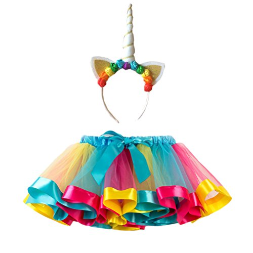 FENICAL Disfraz de Unicornio para Niñas Diadema Unicornio Floral con Oreja y Falda Tutú de Arco Iris Disfraz para Fiesta Azul Cielo Tamaño M