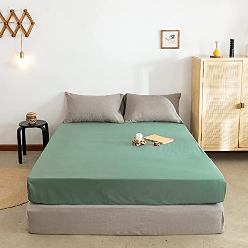 Haiba - Lenzuolo con angoli in tinta unita spazzolato per letto matrimoniale, in microfibra anallergica, traspirante, resistente alle rughe, verde, 180 x 200 cm+28 cm