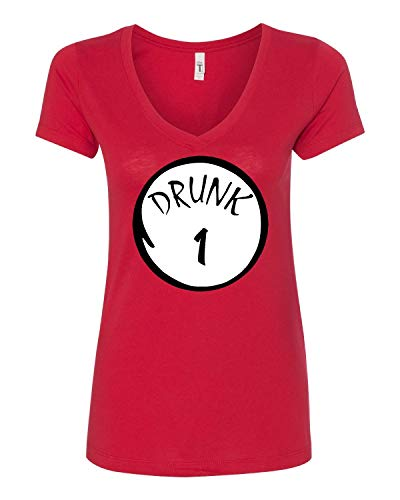 Tutiinca Drunk 1 Drunk 2 Up to Drunk 10 Funny Drinking Shirt 4th of July Shirt USA Party Women's V-Shirt (M Drunk 3) Red