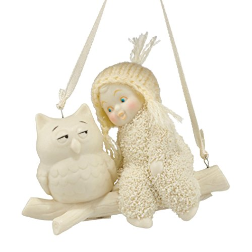 Department 56 Snowbabies Celebrations Wise Advice Owl Hanging Ornament, 2.6 Inch, White