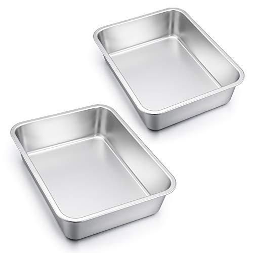 Lasagna Pan Set of 2, E-far Rectangular Deep Cake Baking Pans, 12.75 x10 x3.2 Inches Roaster Baking Dish Stainless Steel, Non-Toxic & Heavy Duty, Dishwasher Safe