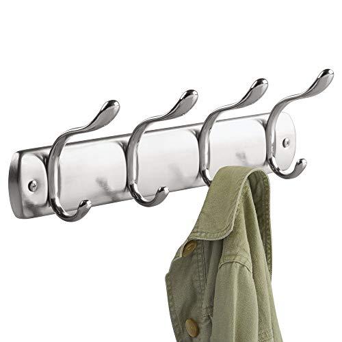 iDesign Bruschia Steel Wall Mount 8-Hook Storage Rack - 13 x 2.9 x 3.66, Brushed/Polished
