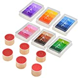 FOROREH Rainbow Craft Finger Ink Pad Flower Stamp 24 colores DIY para DIY Stamp Scrapbooking y decoración de tarjetas (6 almohadillas de tinta con 6 sellos)