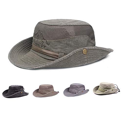 Sombrero sol algodón protección UV,sombrero verano,sombrero playa,sombrero safari boonie,sombrero pesca plegable con malla transpirable correa ajustable para barbilla- hombres mujeres(Verde oscuro)