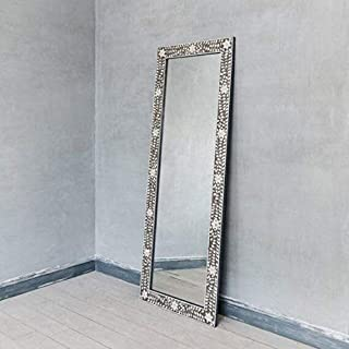 Traditional Handmade Floral Design Mother of Pearl Inlay Floor Mirror