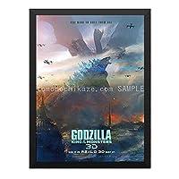 ハンギングペインティング - ゴジラ キングオブモンスターズ Godzilla King of the Monsters 7のポスター 黒フォトフレーム、ファッション絵画、壁飾り、家族壁画装飾 サイズ:33x24cm(額縁を送る)