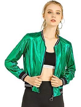 Allegra K Women s Sparkle Holographic Shimmering Metallic Lightweight Shiny Bomber Jacket Small Green