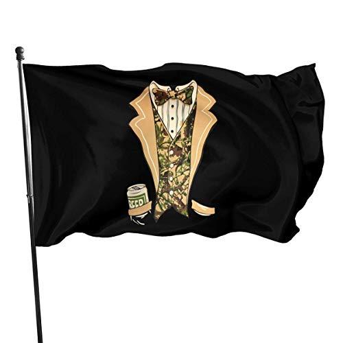 Viplili Smoking mit Fliege und Bier Außenflagge 3x5 Fuß dekorative Flagge für Hinterhof, Haus, Party