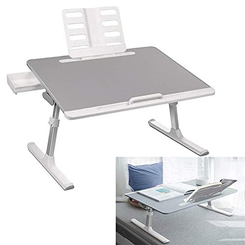 Tisch Tragbarer klappbarer Laptop-Betttisch für Sofa/Bett/Terrasse/Balkon/Gartentisch mit Schublade mit Leseständer 5 Stände 4 Neigungswinkel