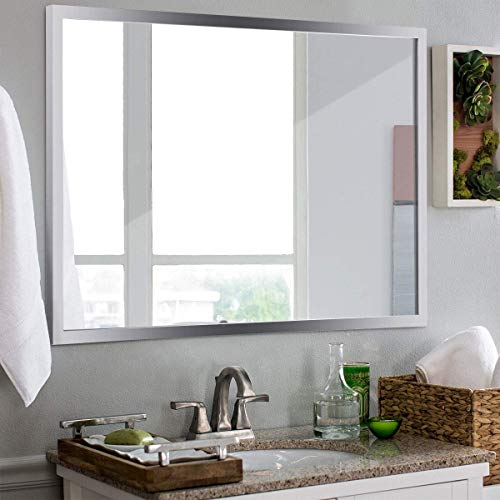 Tangkula Wall Mirror Rectangular, Bathroom Simple Modern Stainless Steel Frame Mirror, Aluminum -