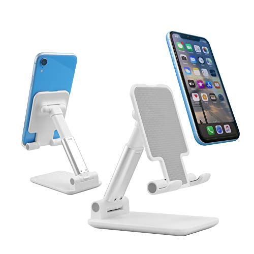 Cell Phone Stand, Angle Height Adjustable Cell Phone Stand for Desk, Thick Case Friendly Foldable and Portable Tablet Holder Stand, Compatible with All Cell Phone/iPad/Kindle/Tablet(4-12inch) White