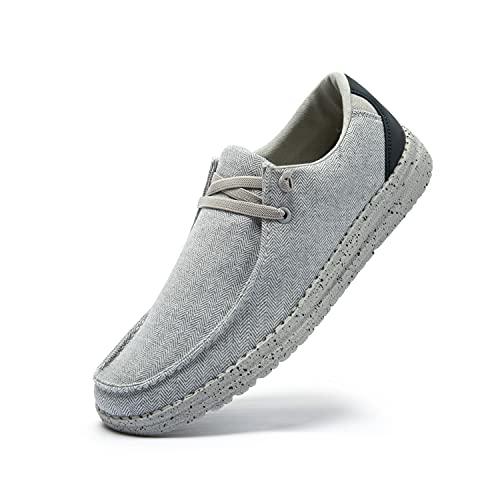 Uomo Scarpe da Ginnastica Slip on Sneakers Basse Scarpe Stringate Scarpe Barca Casual Mocassini Camminata Traspirante Grigio 42