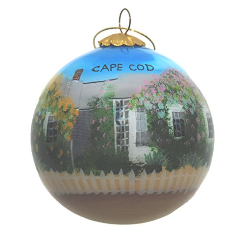 Hand Painted Glass Christmas Ornament - Rose Cottage Cape Cod
