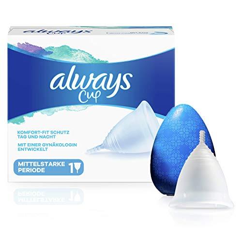 Always Cup Menstruationstasse für mittelstarke Periode, Komfort-Fit Schutz Tag und Nacht, 100% medizinisches Silikon, einfache Reinigung, wiederverwendbar und nachhaltig, 1 Tasse mit Etui