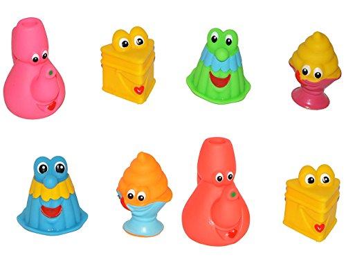 alles-meine.de GmbH 12 Stück - Gummifiguren - als lustiger Kuchen / Küchen Artikel - für Baby ab 0 Monate - Gummi-Figur / Figur - mit Gesicht - Badefiguren / Badetiere - Quietsch..
