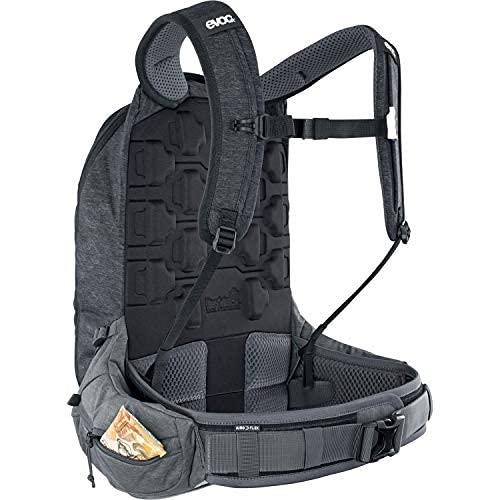 EVOC TRAIL PRO 16l Protektor Rucksack für Tagestouren & Trailriding (Größe: L/XL, LITESHIELD PLUS Rückenprotektor, extrem leicht, breite Hüftflossen, 3l Trinkblasenfach), Schwarz / Carbon Grau