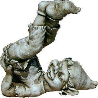 DEGARDEN Figura Decorativa Duende de hormigón-Piedra para jardín o Exterior 24cm.