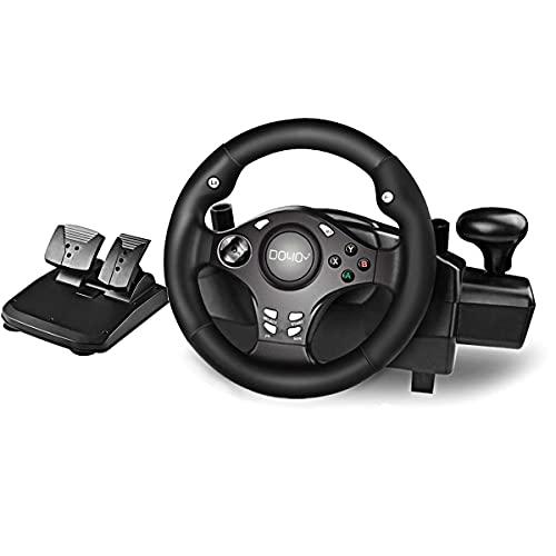 DOYO Gaming Rennlenkrad Racing Wheel Lenkräder mit pedalen für PC, Playstation 3, Playstation 4, Xbox ONE, Xbox 360, Android, Nintendo Switch, Lenkrad 270° Lenkbereich für Rennspiele