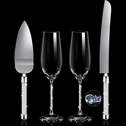 4 Stück Hochzeit Toasten Flöten und Tortenheber Set Hochzeit Empfang Bedarf Champagner Gläser Kuchen Messer Tortenheber