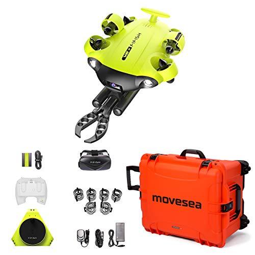 Produktbild von Unterwasserdrohne FIFISH V6S 100 m Kabel 64 GB Fernbedienung 2 Ladegeräte Spule VR-Brille HDMI-Roboterarmschutz Orange Gehäuse mit Rädern QYSEA 8500455