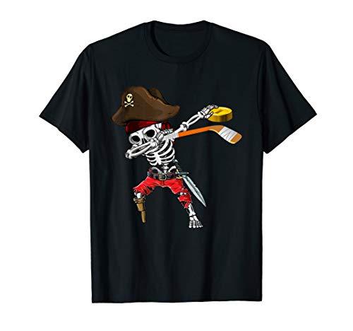 Dabbing Skeleton Jolly Roger Pirate Ice Hockey Halloween T-Shirt