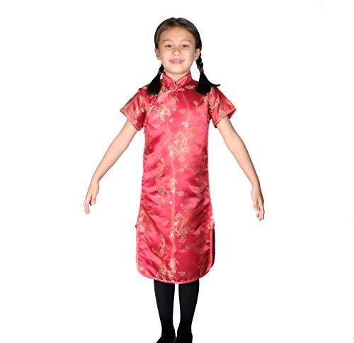 Cinda Satén Dragón y Phoenix Girls Vestido Chino