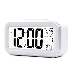 JJCALL Alarm Clock LED Display Digital Alarm Clock Snooze Night Light Battery Clock with Date Calendar Temperature for Bedroom Home Office Travel (White)