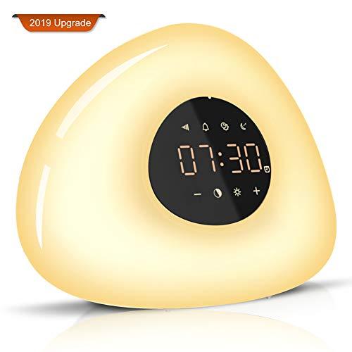 Wake Up Light Despertador con Luz, 2019 LED Lámpara Luces-despertador Simulación de Amanecer y Atardece Función Snooze 10 Sonidos Naturales 7 Luces LED de Colores, 10 Niveles de Brillo