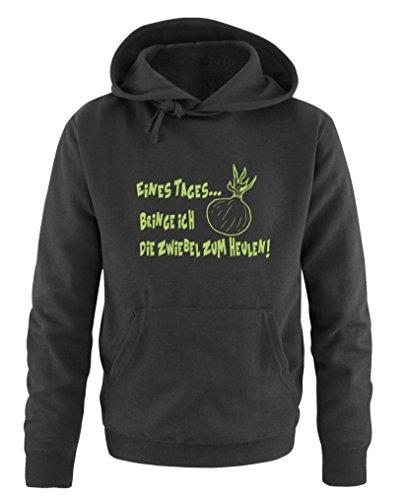 Comedy Shirts - Sweat à capuche pour homme - Avec capuche, poche kangourou, manches longues, pull imprimé. - Noir - XL