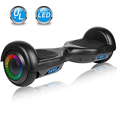 """UNI-SUN 6.5"""" Hoverboard for Kids, Two Wheel Self Balancing Electric Scooter, Hoverboard with LED Lights for Adults, UL 2272 Certified Hover Board?Classic Black?"""