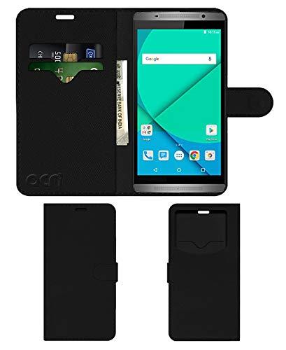 Acm Leather Window Flip Wallet Front & Back Case Compatible with Micromax Canvas Mega 2 Q426 Mobile Cover Black