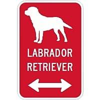 LABRADOR RETRIEVER マグネットサイン レッド:ラブラドールレトリーバー(小) シルエットイラスト&矢印 英語標識デザイン Water R.