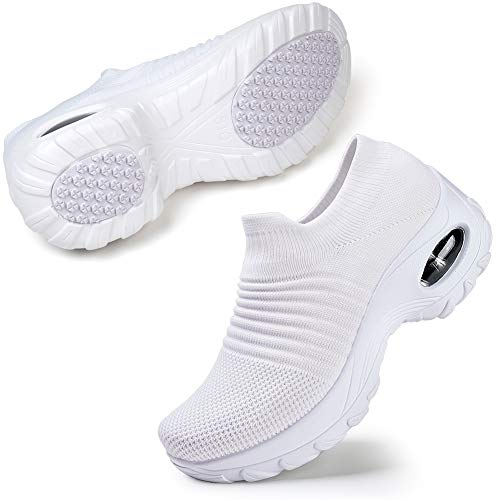 STQ Womens Lightweight Nursing Shoes Slip On Walking Shoes Breathable Mesh Casual Jogging Sneakers 10 M US White