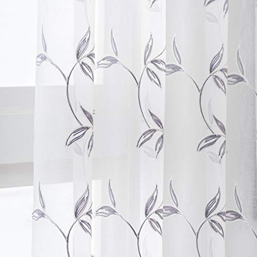 Grey Leaf White Sheer Curtains for Bedroom - Rod Pocket Embroidery Leaf Pattern Semi Sheer Curtains 63 Inch Length Light Filtering Privacy Voile Window Drapes, 52 x 63 Inch, 2 Panels, Grey