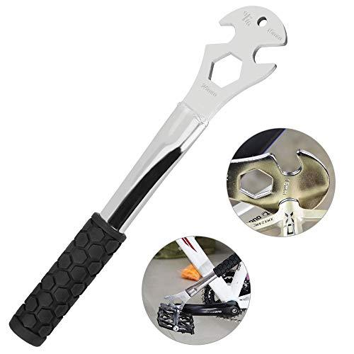DECARETA Pedalschlüssel Fahrrad 15mm/24mm, 9/16 Zoll Schraubenschlüssel Multifunktional Maulschlüssel Reparatur Werkzeug mit langem Griff für Fahrrad Pedale