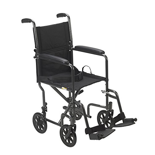 Drive Medical TR39E-SV Lightweight Steel Transport Wheelchair, Fixed Full Arms, 19' Seat, Silver