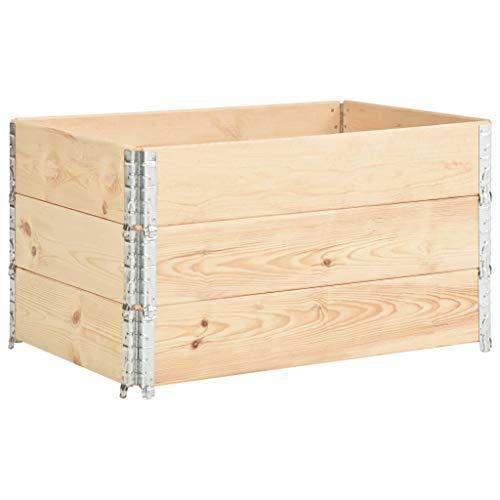 Festnight Paletten-Aufsatzrahmen 3 STK. Hochbeet Gartenbeet Stapelrahmen 50×100 cm Kiefern-Massivholz