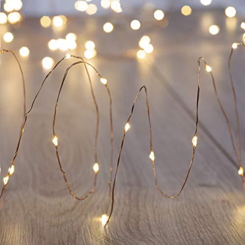 DecoKing 46807 4x20 LED Micro guirlande lumineuse sur fil doré Chaud Blanc statique Static Exploités à piles Intérieur et Extérieur LED Décorations de Noël Décoration de l'Arbre de Noël