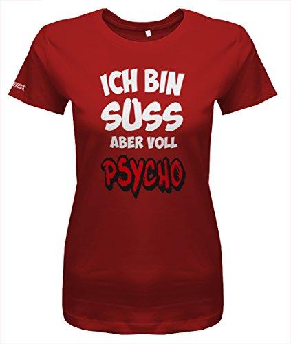 Jayess Ich Bin süß Aber voll Psycho - Damen T-Shirt in Rot by Gr. XXL