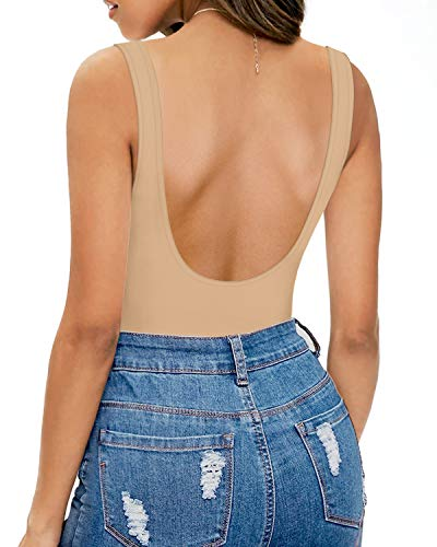 MANGOPOP Women's Scoop Neck Sleeveless T Shirt Tank Tops Bodysuit Jumpsuits (A1 Backless (Mocha), XX-Large)