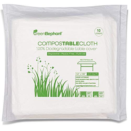 绿色大象100%可堆肥通用滴布,一次性环保矩形透明白色防水桌布。10包 - 小4.5'x 9'ASTM D6400和OK堆肥