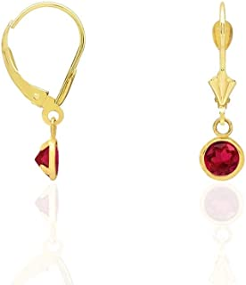 """14k Yellow Gold Round Bezel Birthstone Dangle Drop Leverback Earrings 0.8"""""""